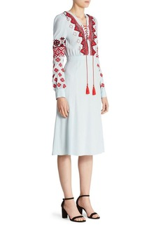 Altuzarra Hidalgo Embroidered Lace-Up Dress