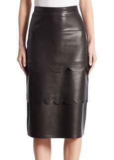 Altuzarra Hyacinthe Scalloped Leather Pencil Skirt