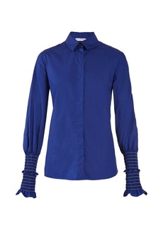 Altuzarra Jorda smocked-cuff cotton-poplin shirt