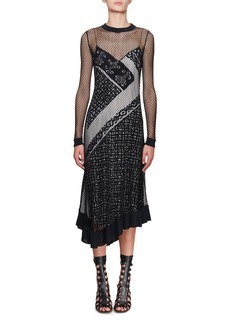 Altuzarra Kleber Fishnet Long-Sleeve Bandana-Print Midi Dress