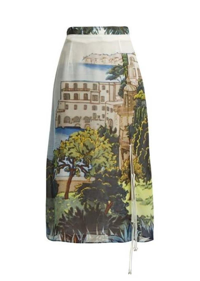 Altuzarra Landscape-print silk-chiffon midi skirt