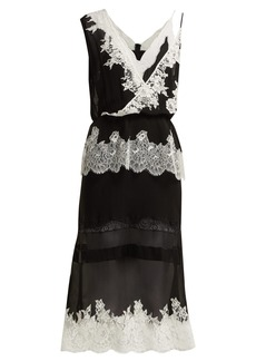 Altuzarra Lavanda lace-trimmed silk-georgette midi dress