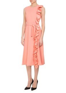 Altuzarra Lavinia Pleated-Trim Midi Dress with Belt