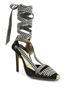 Altuzarra Leather & Gingham Lace-Up d'Orsay Pumps