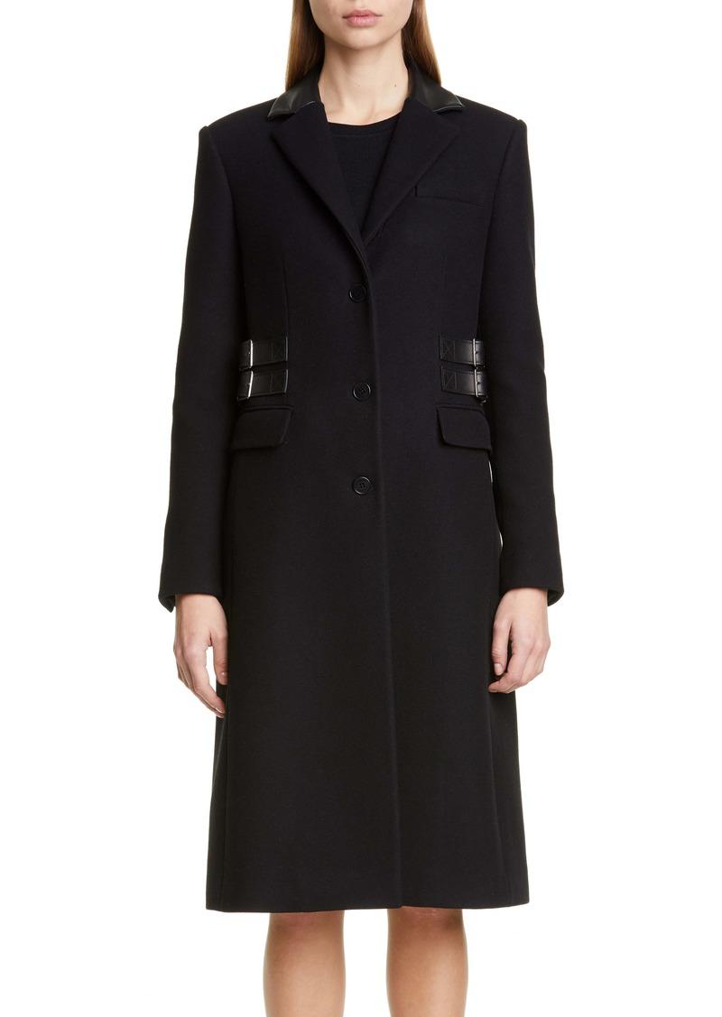 Altuzarra Leather Trim Wool Blend Coat