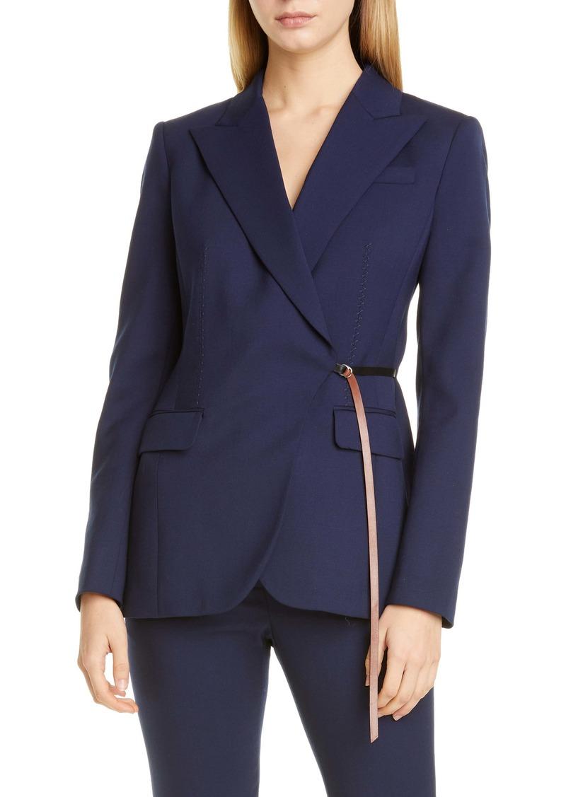 Altuzarra Leather Waist Detail Wool Jacket
