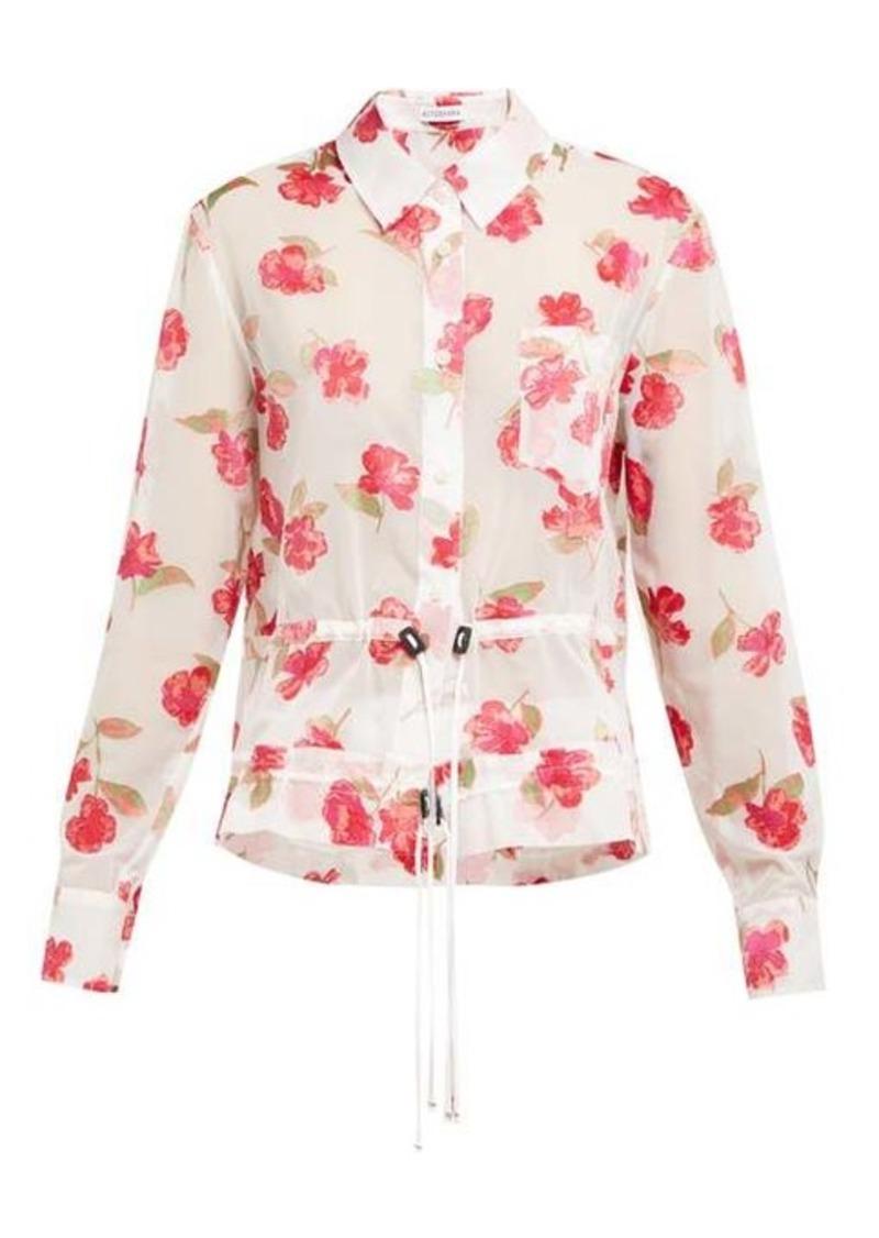 Altuzarra Lia floral-devoré crepe drawstring shirt