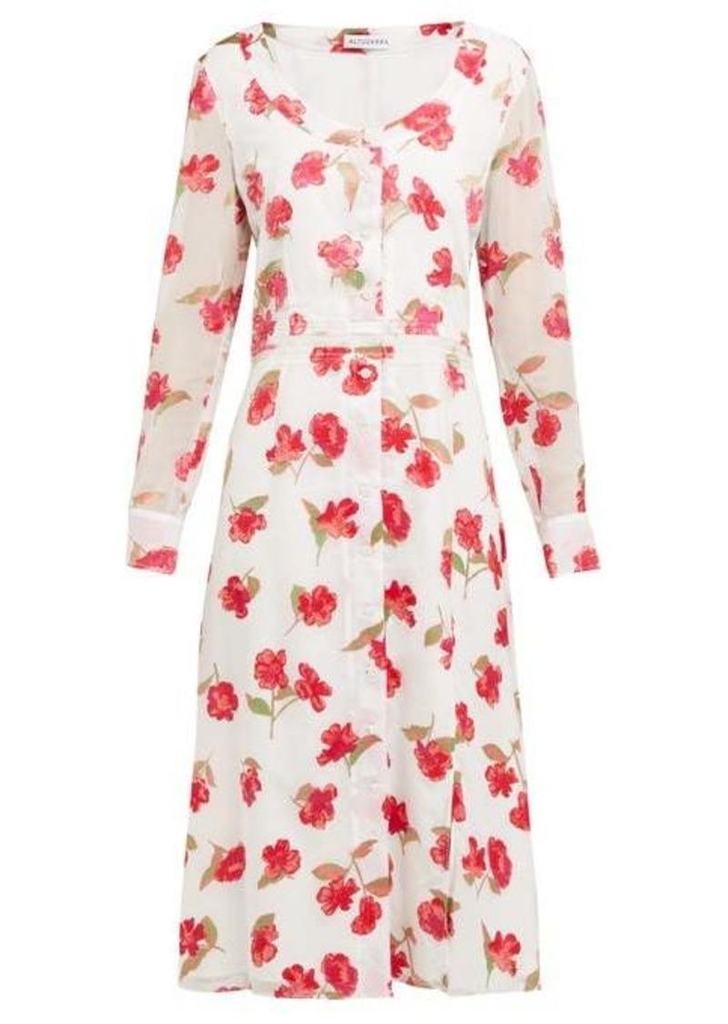 Altuzarra Livia poppy-devoré waistband midi dress
