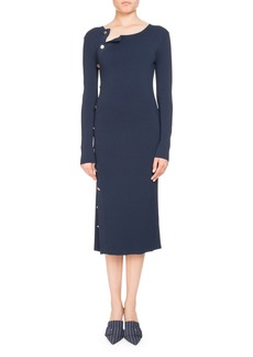 Altuzarra Long-Sleeve Button-Side Dress