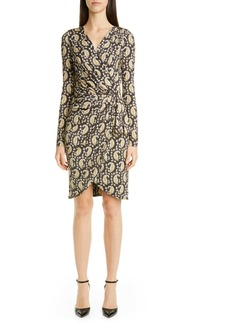 Altuzarra Long Sleeve Ruched Faux Wrap Jersey Dress