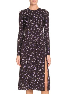 Altuzarra Long-Sleeve Side-Slit Floral-Print A-Line Midi Dress
