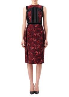 Altuzarra Lorenza Floral Jacquard Sheath Dress with Velvet Trim