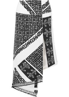 Lumieres asymmetric tasseled printed silk crepe de chine skirt