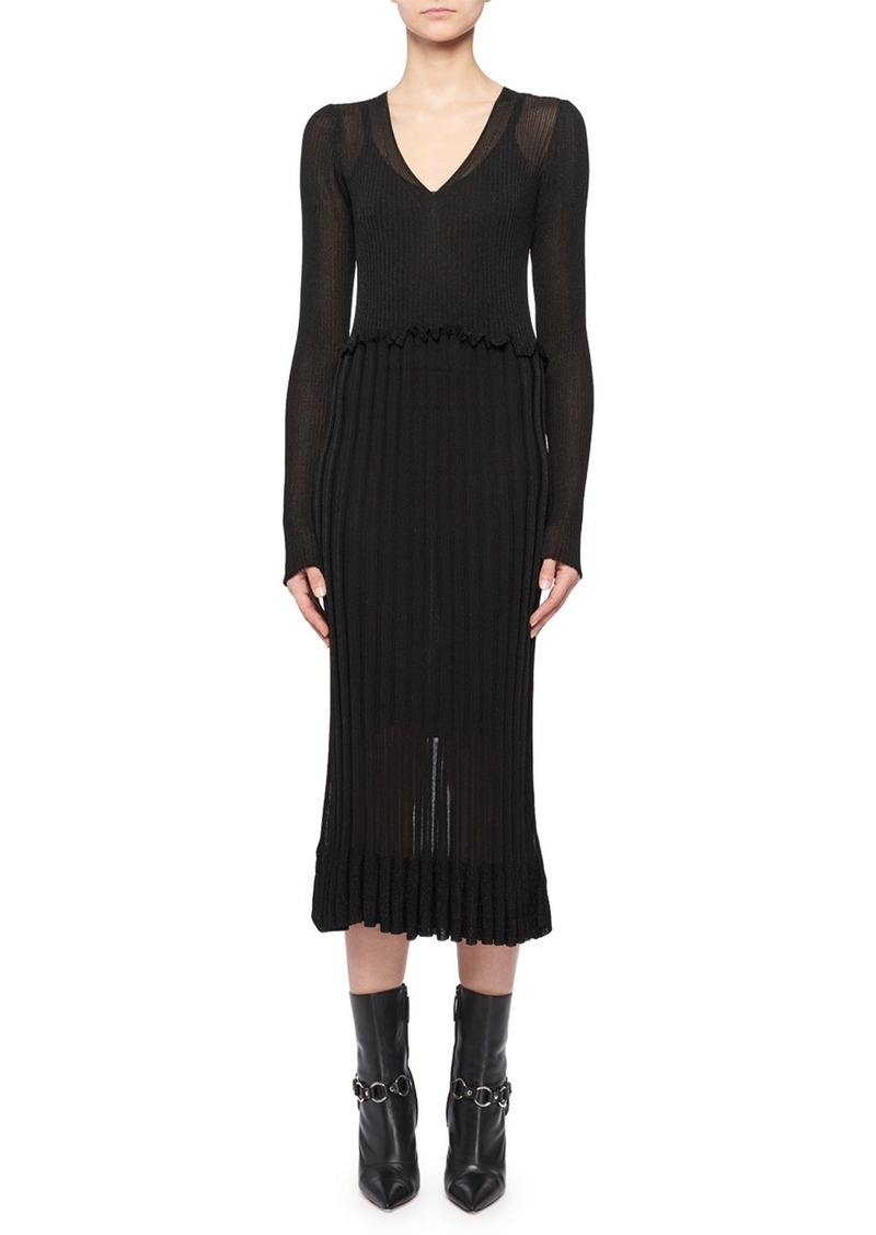 Altuzarra Lurex® Long-Sleeve Dress w/ Flounce Hem