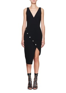 Altuzarra Marceau V-Neck Sleeveless Asymmetric Button Cocktail