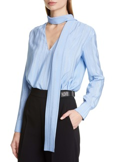 Altuzarra Metallic Stripe Tie Neck Blouse