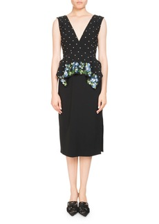 Altuzarra Noane Sleeveless Peplum Crepe Cocktail Dress w/ Embellished Top