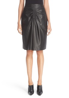 Altuzarra Paper Rourke Gathered Leather Skirt