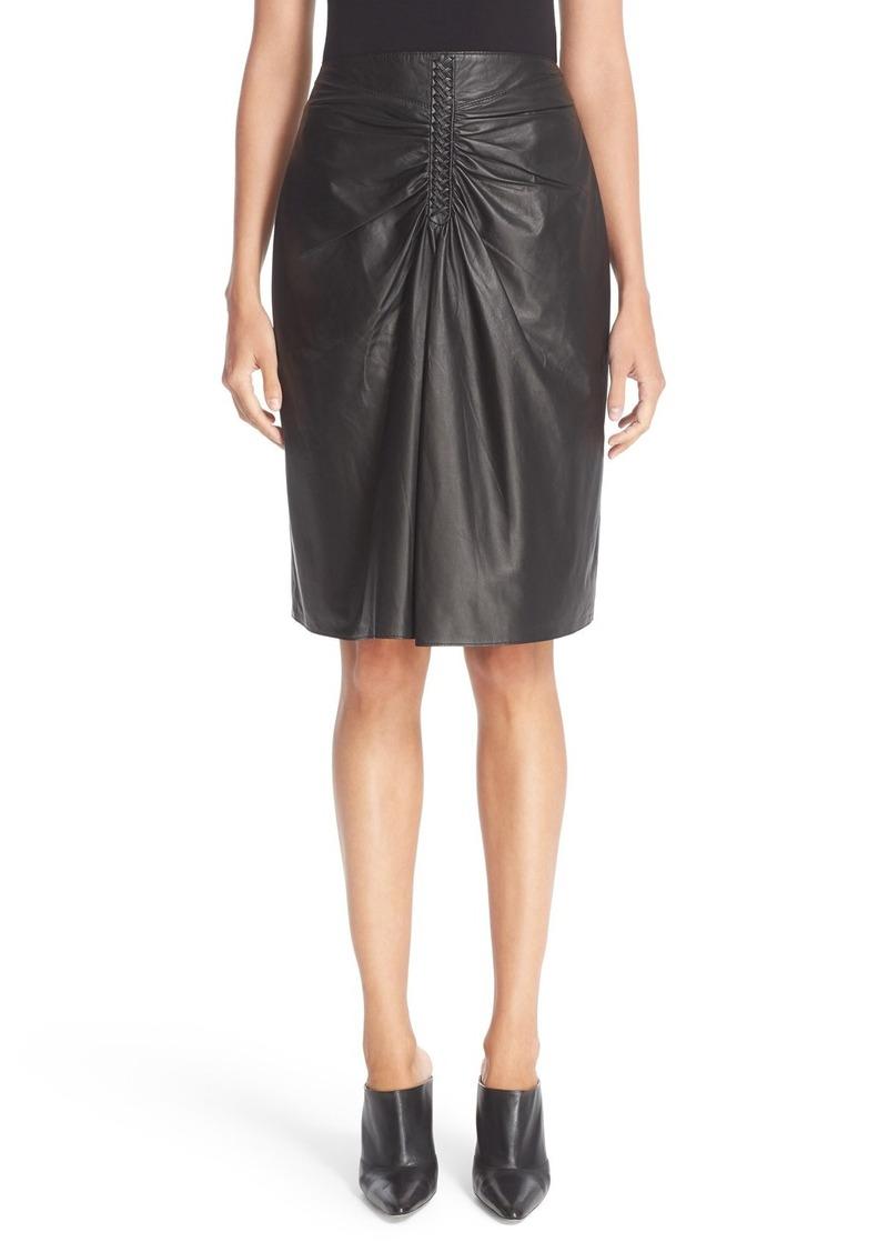 Altuzarra Paper Rourke Gathered Leather Skirt