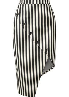 Altuzarra Paul Bert button-embellished striped stretch cotton-twill skirt