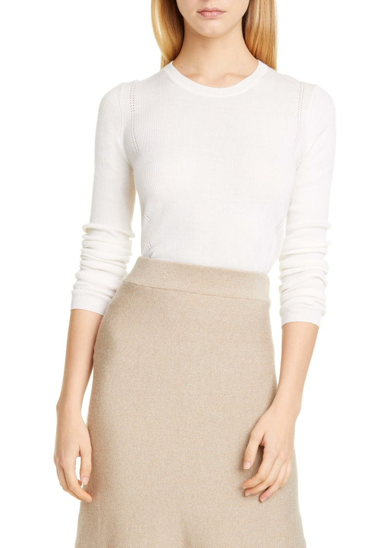 Altuzarra Platte Back Button Rib Merino Wool & Cashmere Sweater