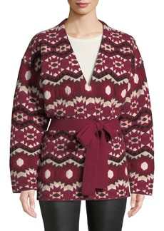 Altuzarra Printed Cashmere Reversible Wrap Kimono Sweater