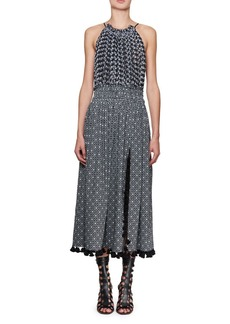 Altuzarra Ruched Floral Halter Midi Dress