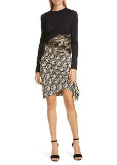 Altuzarra Ruched Patchwork Long Sleeve Minidress