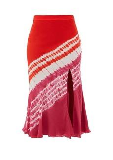 Altuzarra Sachiko front-slit shibori-dyed silk midi skirt