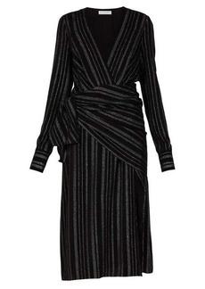 Altuzarra Sade metallic-striped silk-blend crepe wrap dress