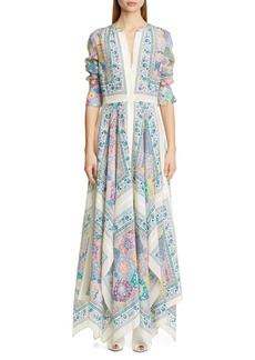 Altuzarra Scarf Print Long Sleeve Silk Maxi Dress