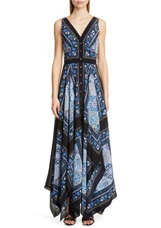 Altuzarra Scarf Print V-Neck Silk Maxi Dress