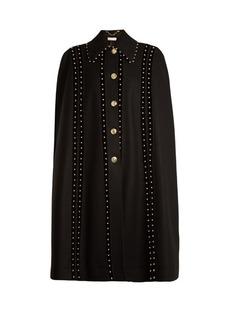 Altuzarra Serena bead-embellished wool-blend cape