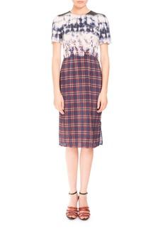 Altuzarra Short-Sleeve Bleached Plaid Dress