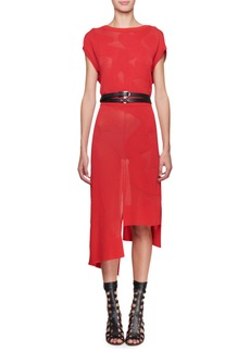 Altuzarra Short-Sleeve Floral Mesh Dress with Asymmetric Hem