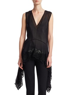 Altuzarra Silk Lace-Hem Handkerchief Top