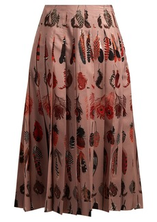 Altuzarra Sirocco feather-print pleated skirt