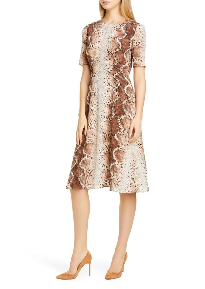 Altuzarra Snakeskin Print A-Line Silk Dress