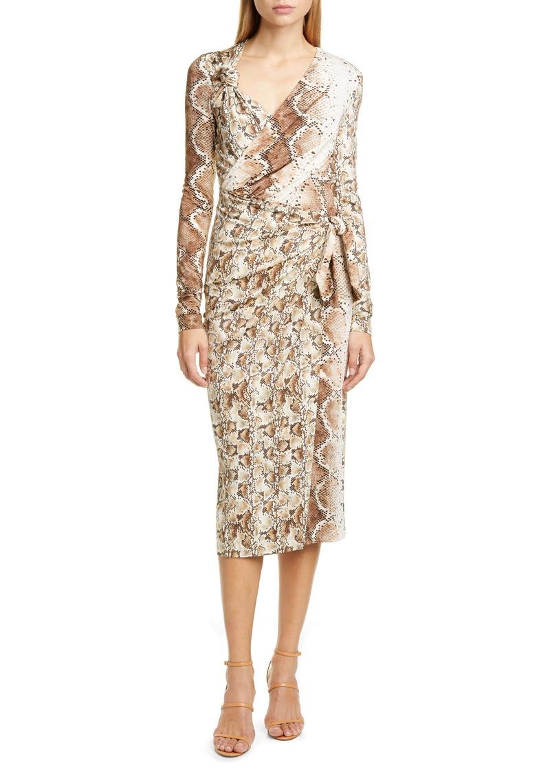Altuzarra Snakeskin Print Long Sleeve Dress