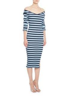 Altuzarra Socorro Striped Off-the-Shoulder Dress