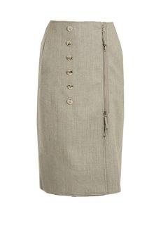 Altuzarra Sorrel button-embellished wool-blend pencil skirt