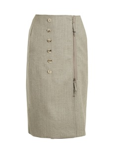 Altuzarra Sorrel button-embellished wool-blend pencil skirt