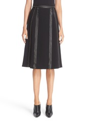 Altuzarra Steele Studded Leather Trim Skirt