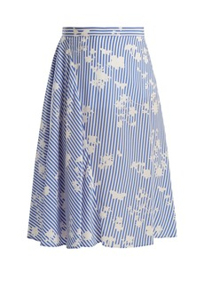 Altuzarra Sundew stripe-print fluted silk skirt