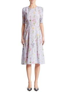 Altuzarra Sylvia Cinched Garden-Print Silk Dress