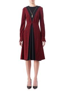 Altuzarra Taddea Flocked Long-Sleeve Midi Dress