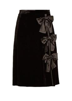 Altuzarra Valente bow-embellished velvet skirt
