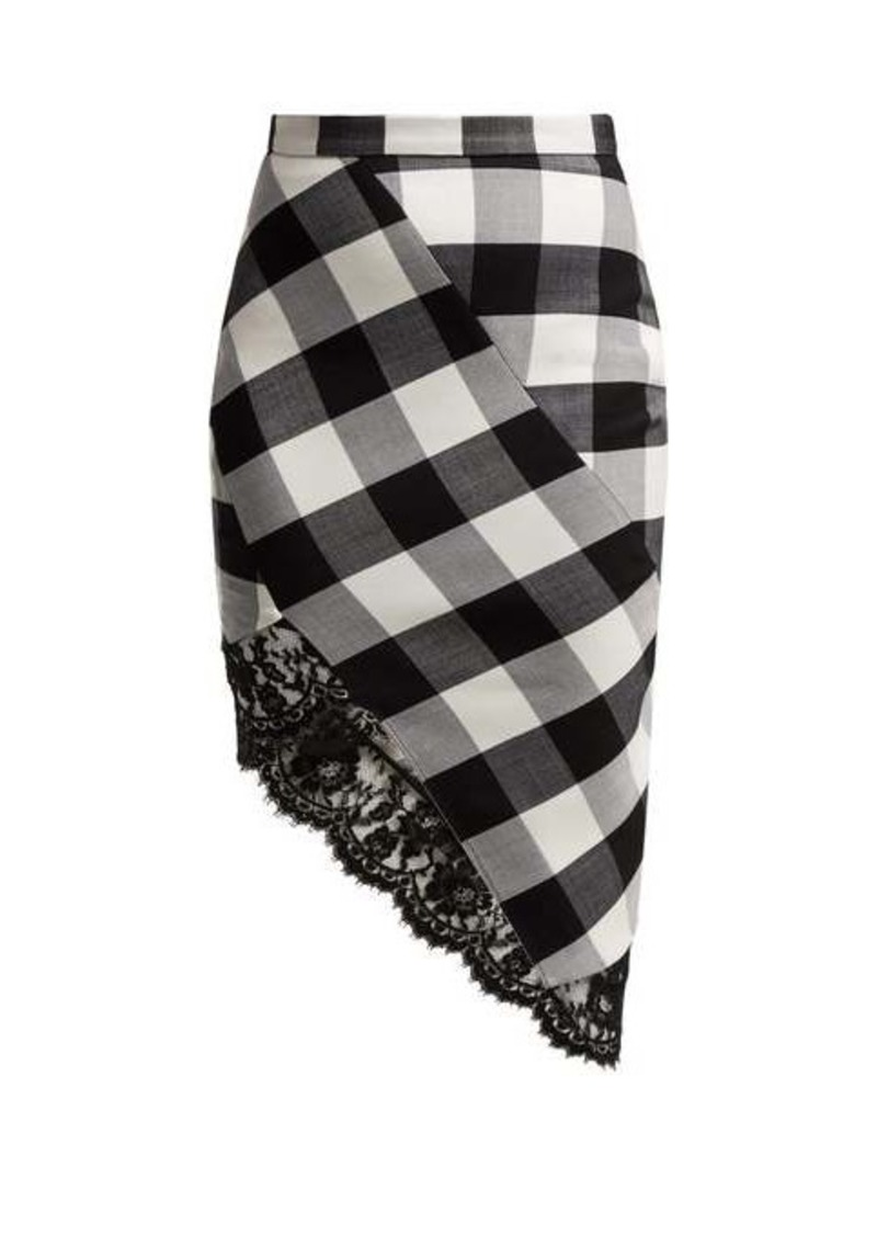 Altuzarra Vichy lace-trimmed checked wool-blend skirt