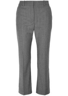 Altuzarra Woman Cropped Pinstriped Wool-blend Flared Pants Gray