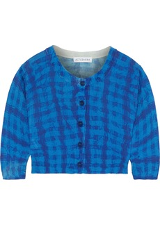 Altuzarra Woman Anita Cropped Checked Silk And Cotton-blend Cardigan Blue